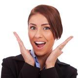 Verbaasde jonge bedrijfsvrouw Stock Foto's