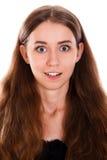 Verbaasde jonge vrouw Stock Foto's