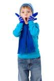 Verbaasde jongen in de winterkleren Stock Fotografie