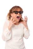 Verbaasde vrouw met 3D glazen Stock Afbeelding