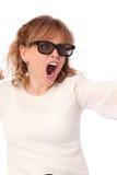 Verbaasde vrouw met 3D glazen Stock Foto's