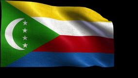 Verband Komoren, Flagge von Komoren - nahtlose SCHLEIFE stock video footage