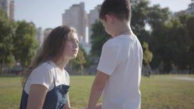 Verband tussen siblings Oudere zuster die haar jongere broer in het de zomerpark berispen Ongehoorzame jongen die lopen met stock video