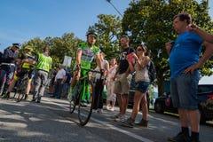 Verbania, Italia 28 de maio de 2015; Ciclismo profissional após uma fase da excursão de Itália 2015 Fotos de Stock Royalty Free