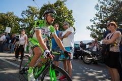 Verbania Italia 28 Maj 2015; Professionell som cyklar efter en etapp av turnera av Italien 2015 Arkivfoton