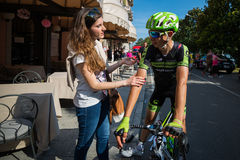 Verbania, Italia 28 May  2015; Davide Formolo with his girlfriend Stock Photo