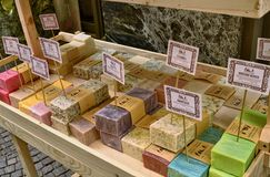 Verbania, Piedmont, Italy. March 2019. In the historic center, a shop selling handmade soap royalty free stock photo