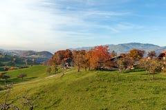 Verbazend de herfstpanorama in Zwitserland apls dichtbij stad van Interlaken Royalty-vrije Stock Afbeeldingen