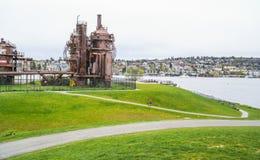 Verbazend Gasfabriekenpark in Seattle - SEATTLE/WASHINGTON - APRIL 11, 2017 Royalty-vrije Stock Afbeeldingen