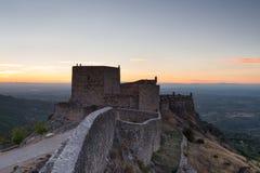 Verbazend landschap van het middeleeuwse kasteel van Marvao bij Zonsondergang stock fotografie