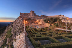 Verbazend landschap van het middeleeuwse kasteel van Marvao bij Zonsondergang royalty-vrije stock foto