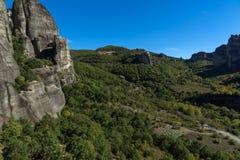Verbazend landschap van Rotsenvorming dichtbij Meteora, Griekenland Royalty-vrije Stock Afbeeldingen
