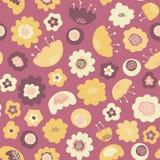Verbazend leuk naadloos uitstekend kleurrijk bloemenpatroon Stock Foto's