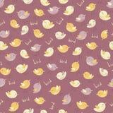 Verbazend leuk naadloos uitstekend kleurrijk vogelpatroon Stock Afbeeldingen