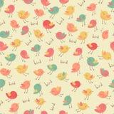 Verbazend leuk naadloos uitstekend kleurrijk vogelpatroon Stock Foto