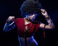 Verbazend meisje met afro Stock Foto