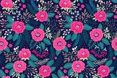 Verbazend naadloos bloemenpatroon Stock Afbeelding