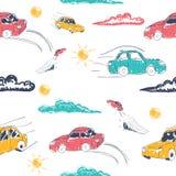Verbazend naadloos vectorautopatroon Babyornament met stuk speelgoed machine Illustratie Stock Afbeeldingen