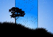 Verbazend natuurlijk landschap met boomsilhouet, vector illustrat Stock Afbeeldingen