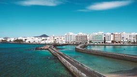 Verbazend oceaanlandschap op een vulkanisch Eiland Fuerteventura stock foto's