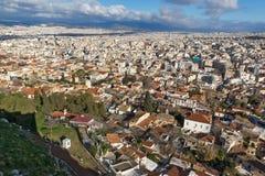 Verbazend panorama van Akropolis aan stad van Athene, Griekenland Royalty-vrije Stock Afbeelding
