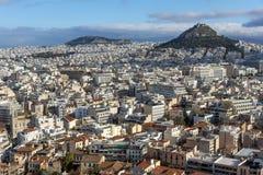 Verbazend panorama van Akropolis aan stad van Athene, Griekenland Royalty-vrije Stock Foto