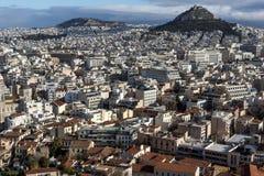 Verbazend panorama van Akropolis aan stad van Athene, Griekenland Stock Fotografie