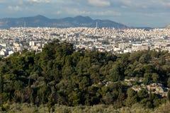 Verbazend panorama van Akropolis aan stad van Athene, Griekenland Stock Foto's