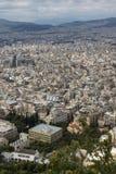 Verbazend Panorama van de stad van Athene van Lycabettus-heuvel, Griekenland Royalty-vrije Stock Afbeeldingen