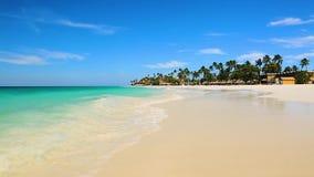 Verbazend schoonheids Caraïbisch overzees strand Het eiland van Aruba stock footage