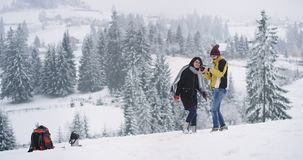 In verbazend sneeuwbos op het dak van gebied twee heeft de toerist een onderbreking, neemt de mens zijn fotocamera en begint te m stock video
