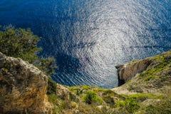 Verbazend vooruitzicht vanaf de bovenkant van de kaap van Keri, Zakynthos, Griekenland stock foto