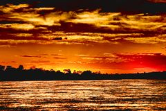 Verbazende Afrikaanse zonsondergang royalty-vrije stock foto's