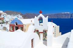 Architectuur van Oia dorp op eiland Santorini Stock Afbeelding
