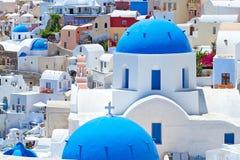 Verbazende architectuur van Santorini Stock Foto's