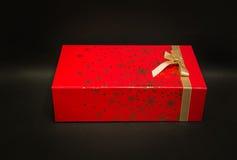 Verbazende close-upmening van de gift rode doos van de Kerstmisvakantie Stock Afbeelding