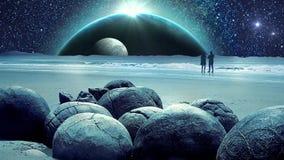 Verbazende Fantastische Aarde en Heelalmelkweganimatie met Maan stock video