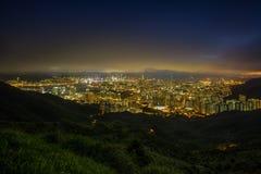 Verbazende gouden horizon van Hong Kong Stock Foto's