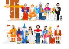 Verbazende illustratie van mensen in verschillende beroepen Vector vlakke illustratie Karakters op witte achtergrond worden geïso vector illustratie