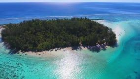 Verbazende 4k luchthommelmening over klein tropisch eiland in Frans Polynesia turkoois Vreedzaam oceaan de aardzeegezicht van Tah stock footage