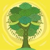 Verbazende Kleurenboom van het Leven in de Indische Stijl met Bladeren Beeldverhaal vectorillustraties Royalty-vrije Stock Afbeelding
