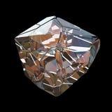 Verbazende kleurrijke die van de het kristalcluster van Diamond Quartz Rainbow Flame Blue Aqua Aura de close-upmacro op zwarte ac Stock Foto's