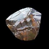Verbazende kleurrijke die van de het kristalcluster van Diamond Quartz Rainbow Flame Blue Aqua Aura de close-upmacro op zwarte ac Stock Fotografie