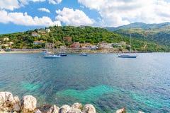 Verbazende kust van Grieks eiland Korfu, Griekenland Royalty-vrije Stock Afbeeldingen