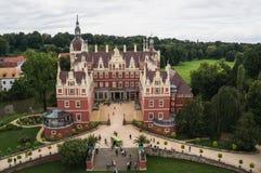 Verbazende luchtfotografie van muskaupaleis in Duitsland Royalty-vrije Stock Foto's