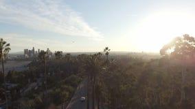 Verbazende luchthommelklem van Los Angeles en zonlicht achter parkbomen stock footage