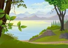 Verbazende Meer en Heuvels vector illustratie
