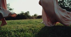 Verbazende meisjes die op cirkel op gras dansen, en gekleed in lange roze kleding stock footage