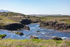 Verbazende mening aan de fantastische rivieroever van IJsland stock fotografie