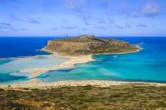 Verbazende mening over Balos-Lagune en Gramvousa-eiland op Kreta stock afbeeldingen